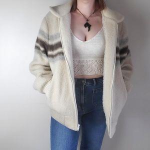Vintage wool blend zip up striped oversized bomber jacket sherpa lined